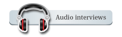 Button with picture of headphones and the words Audio Interviews