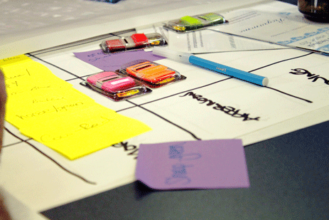 Sticky notes adorn maps of Thames