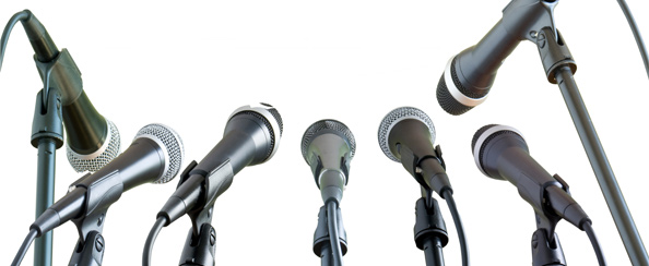 microphones in a row