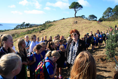 Maggie Barry with Mercury Bay school children at the official launch of the WWI Memorial Forest at the Gallipoli site, Cathedral Cove, June 2015