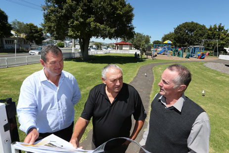 Pictured L-R: PowerCo Chief Executive Nigel Barbour with Mayor Glenn Leach and Deputy Mayor Peter French at the site of the soon-to-be constructed skate and scooter park.